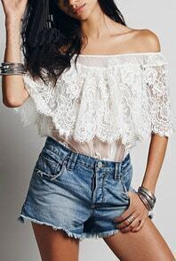 White Boat Neck Lace Sheer Mesh Blouse