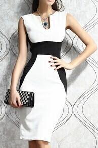 White Black Sleeveless Slim Bodycon Dress