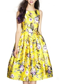 Yellow Sleeveless Ball Owl Print Flare Dress