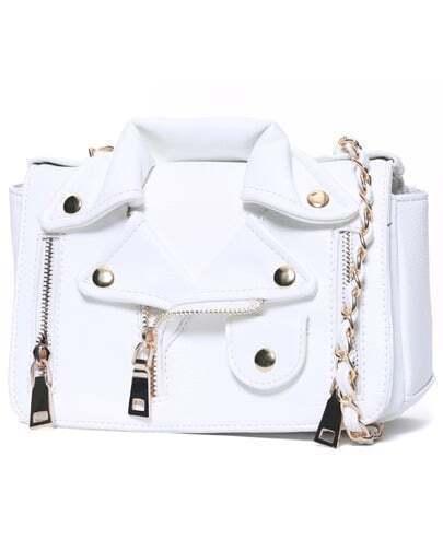 White Zipper Chain PU Bag