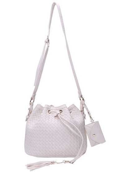 Beige Drawstring PU Shoulder Bag With Wallet