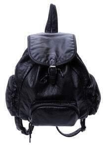 Black Buckle PU Backpack