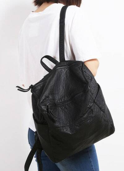 Black Vintage Buckle PU Backpack