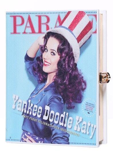 Book Print Buckle PU Clutches Bag