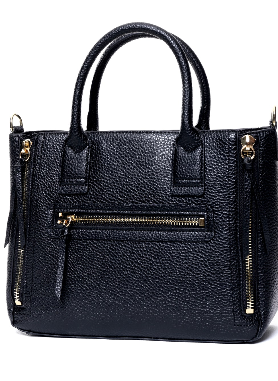 Black Zipper PU Tote Bag -SheIn(Sheinside)