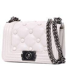 White Buttons Chain PU Bag