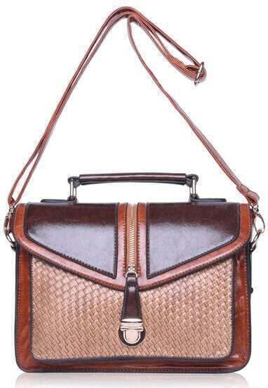 Coffee Weave PU Bag