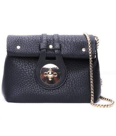 Black Metal Buckle Chain PU Bag