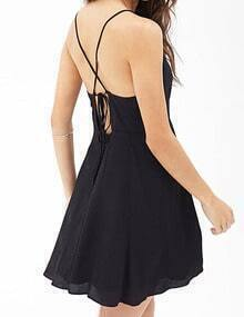 Black Criss Cross Back Chiffon Dress