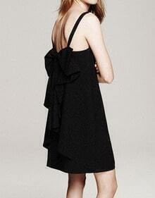 Black Spaghetti Strap Bow Ruffle Slip Dress