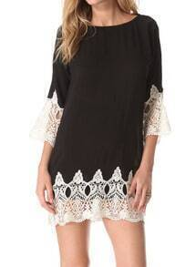 Black Round Neck Lace Hem Slim Dress