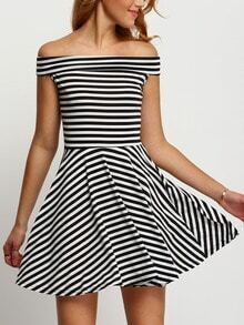 Black White Boat Neck Striped Flare Dress