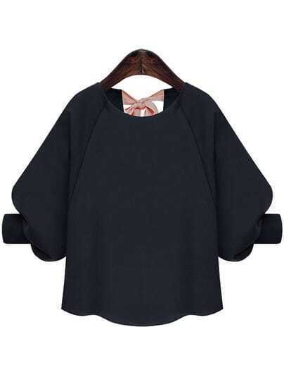 Navy Round Neck Bow Back Chiffon Blouse