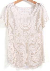 Apricot Short Sleeve Embroidered Lace Blouse