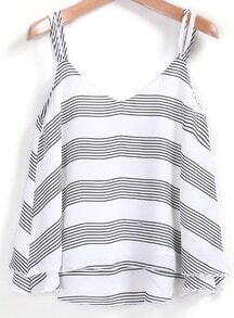 White Grey Spaghetti Strap Striped Cami Top