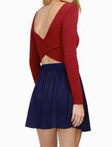 Red Long Sleeve Backless Crop T-Shirt