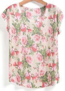 Apricot Short Sleeve Floral Loose T-Shirt