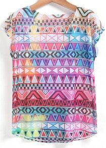 Multicolor Short Sleeve Geometric Print T-Shirt