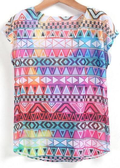 Multicolor Short Sleeve Geometric Print T-Shirt