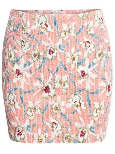 Pink Floral Bodycon Skirt