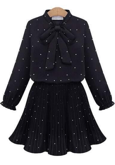 Black Bow Collar Polka Dot Pleated Dress