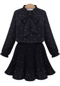 Black Bow Collar Polka Dot Pleated Dress