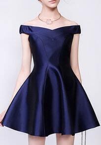 Royal Blue Off the Shoulder Flare Dress