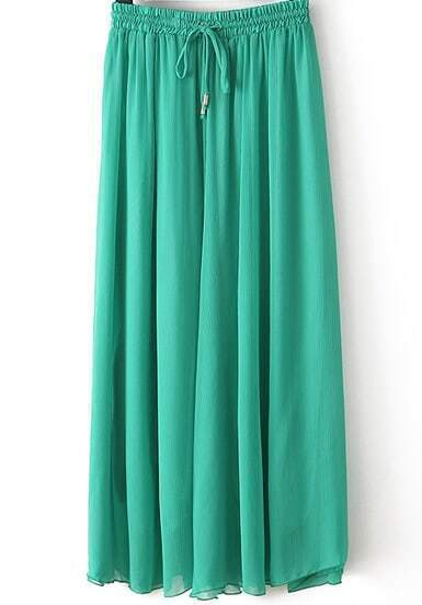 Green Drawstring Waist Pleated Skirt