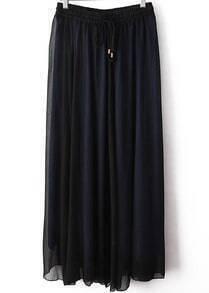 Navy Drawstring Waist Pleated Skirt