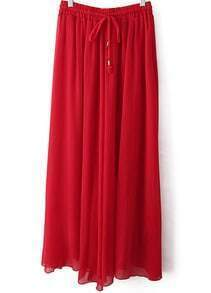 Red Drawstring Waist Pleated Skirt