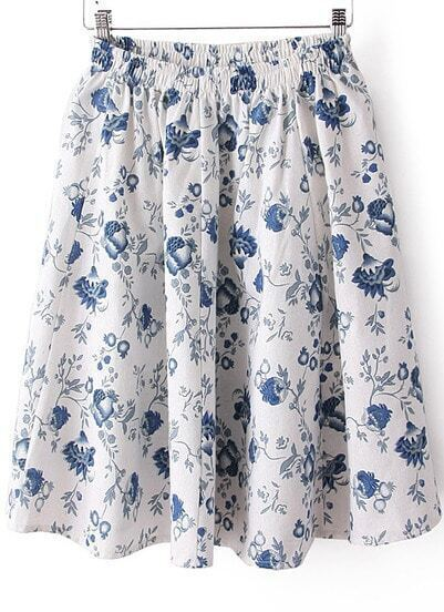 White Elastic Waist Floral Pleated Skirt