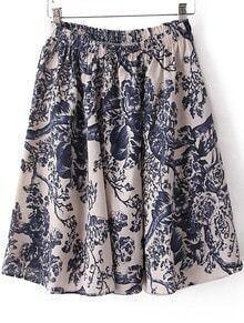 Navy Elastic Waist Branch Print Pleated Skirt