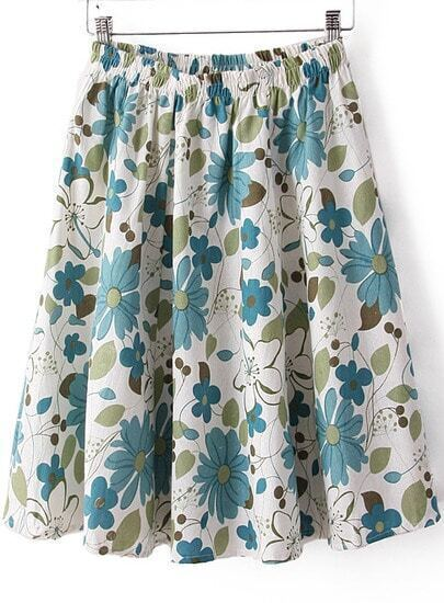 White Elastic Waist Rose Print Pleated Skirt