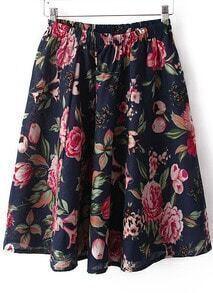 Navy Elastic Waist Peony Print Pleated Skirt
