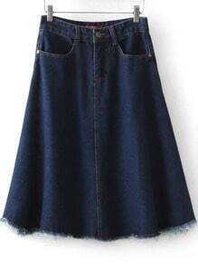 Navy Pockets Fringe Denim Skirt