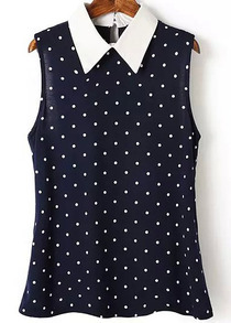 Navy Contrast Collar Polka Dot Split Polkadots Blouse