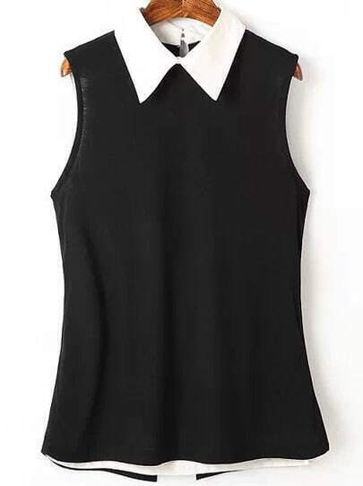 Black Contrast Collar Sleeveless Split Blouse