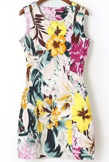 Multicolor Sleeveless Hollow Floral Bodycon Dress
