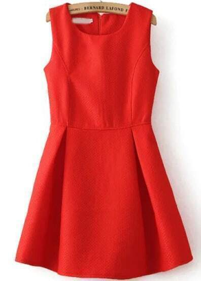 Red Sleeveless Flare Tank Dress