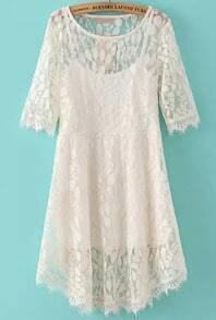 White Beige Round Neck Leaves Lace Dress