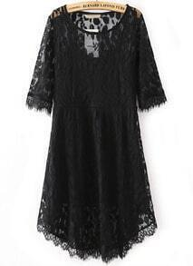 Black Round Neck Leaves Lace Dress