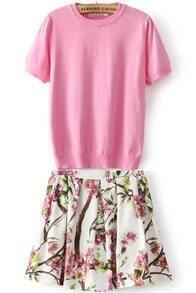 Pink Short Sleeve Knit Top With Floral Skirt