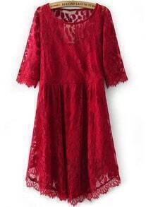 Red Round Neck Leaves Lace Dress