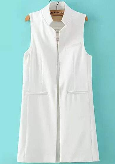 White Stand Collar Sleeveless Split Back Vest