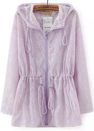 Purple Hooded Drawstring Lace Loose Coat