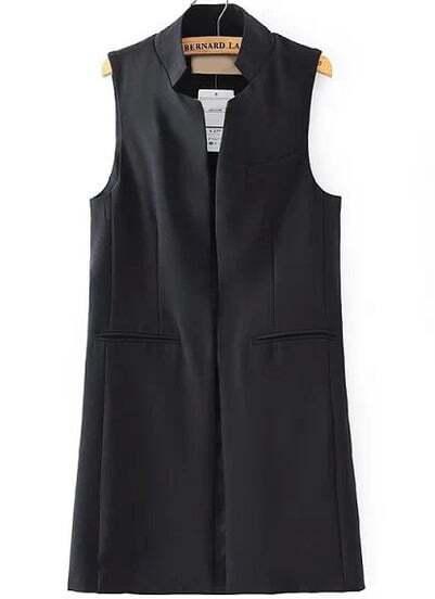 Black Stand Collar Sleeveless Split Back Vest