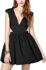 Black Sleeveless V Neck Cut Out Pleated Dress