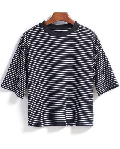 Black Short Sleeve Striped Loose T-Shirt