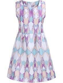 Pink Sleeveless Geometric Print Flare Dress