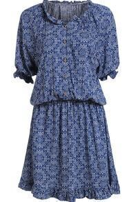 Blue Ruffle Collar Vintage Floral Dress